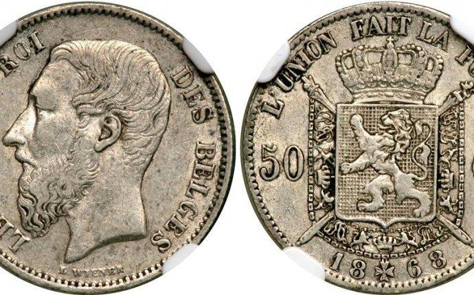 50 Centime 1868 Belgium Silver Leopold II of Belgium(1835 - 1909