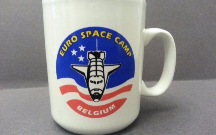 Vintage Euro Space Camp Coffee Mug Belgium Shuttle Patch NASA Cup