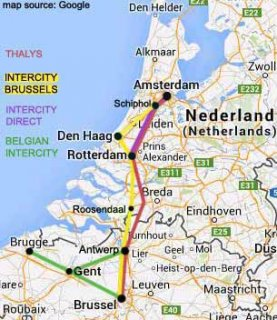 amsterdam to bruges ghent rail map