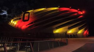 Nagyardei Stadium is illuminated with the Belgian national colours in Debrecen, 226 kms east of Budapest, Hungary, Tuesday, March 22, 2016 to pay tribute to victims of the terrorist attacks committed earlier Tuesday in Brussels, the capital of Belgium. Dozens of people were killed and more than 200 injured when bombs were detonated at Brussel's Zaventem international airport and at a metro station of the city.