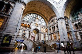 Picture of Antwerp train station with large door