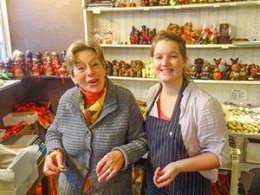 two women in a chocolate shop in Belgium